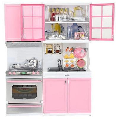 Mini doll pink kitchen set furniture dollhouse miniature for Kitchen set baby