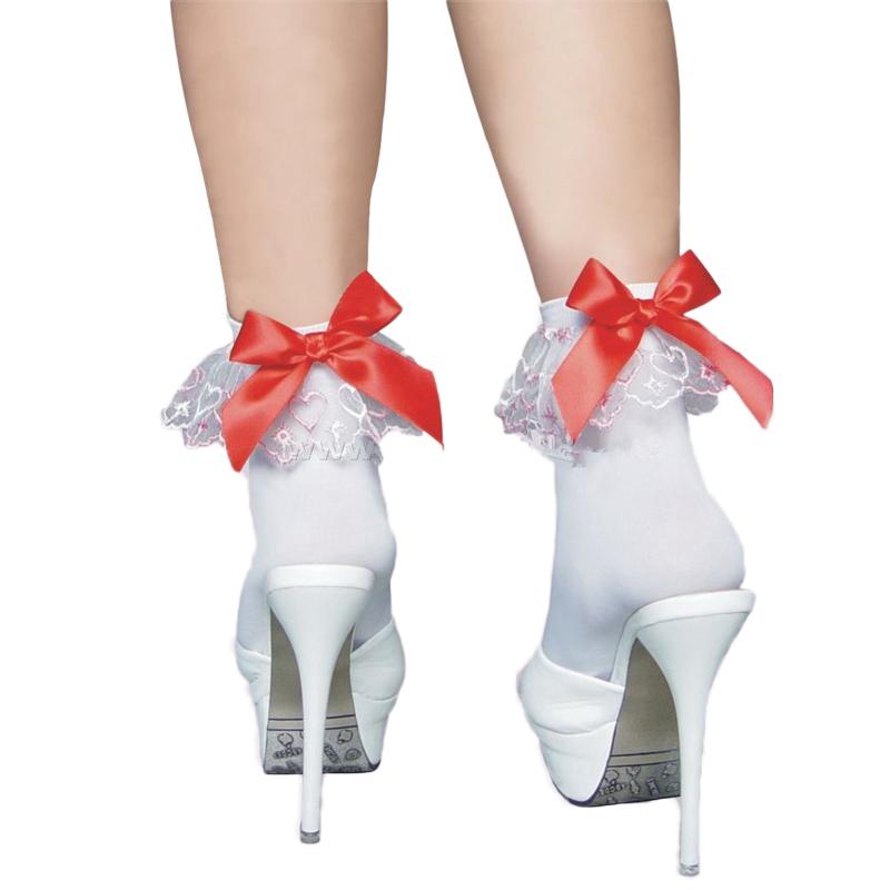 HD2102 Women's clothing 1 pair fitness stockings white lace trim red bow nylon stockings medias comfortable lolita stockings(China (Mainland))
