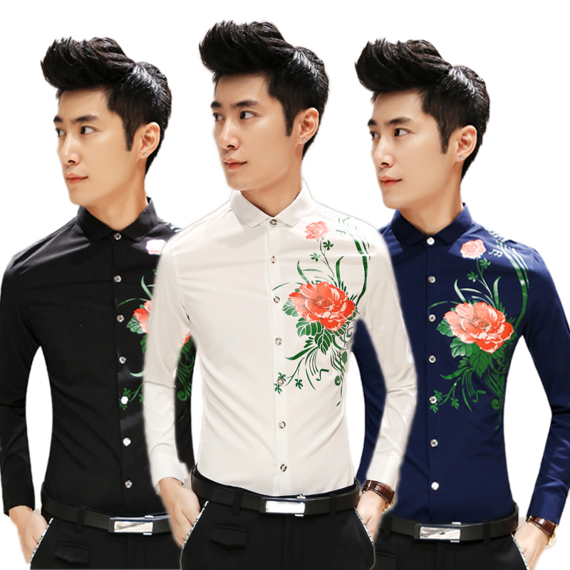free shipping camisa masculina 2015 new arrival Korean men shirt flower printed slim fit mens long sleeve shirts chemise hommeОдежда и ак�е��уары<br><br><br>Aliexpress