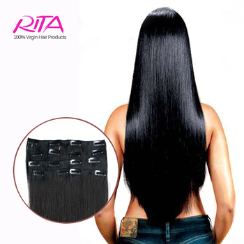 "Black 1B# Clip in Human Hair Extensions 16-28"" Remy Clip In Hair Extension Natural Hair Full Head Human Hair With Clip Ins"