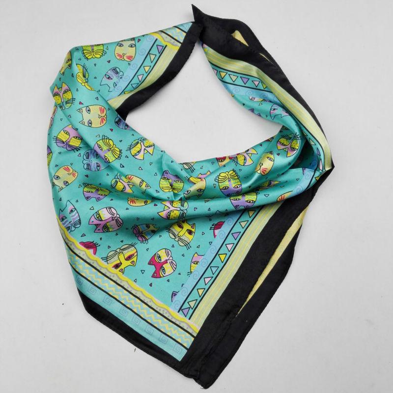 Baby Handkerchief Cute Cats Print On Silkly Stain Bandana Girls Handkerchief Head SFN011
