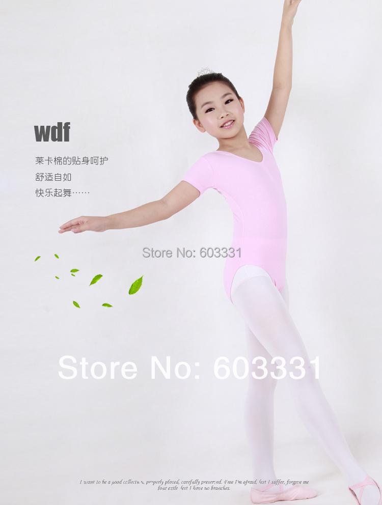 Girls Pink Short-sleeve Cotton Ballet Gymnastics Leotards Kids leotard Dance Skate Costume Dress SZ 3-8Y ! - dance dress store