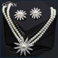 CHRAN Brand Costume Women Jewelry Crystal Rhodium Plated Imitation Pearl Bridal Wedding Jewelry Sets