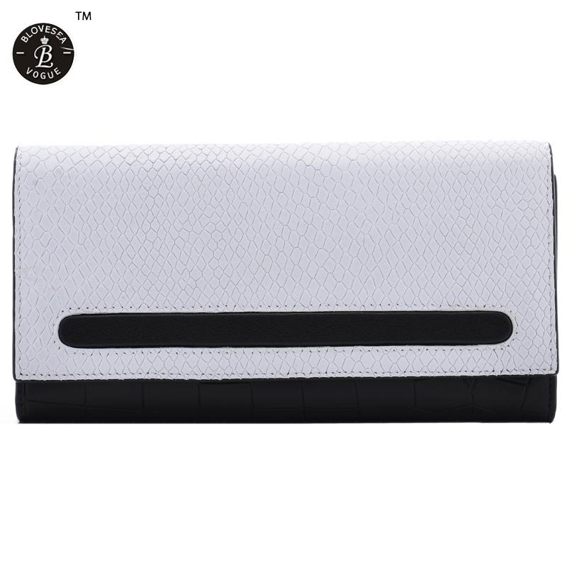 Popular Latest Long Purses Women Wallets Genuine Leather Bags American Contast Color Hidden Button Female Zipper Wallet<br><br>Aliexpress