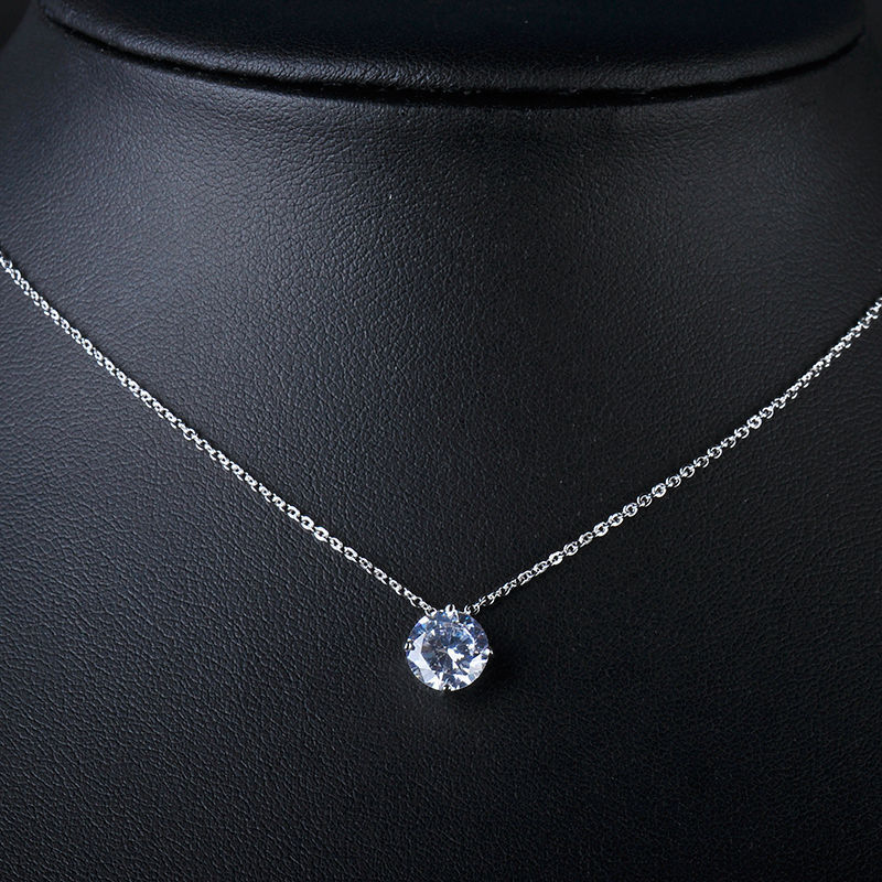 High Quality 18K WHITE GOLD Charm Necklace 2015 Fashion Necklaces Jewelry , made with AAA CZ GLD0526(China (Mainland))