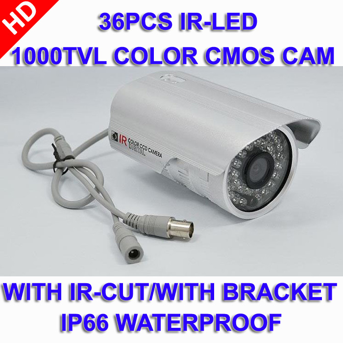 1000TVL/720P Camera 36 IR LED Color CMOS outdoor/Waterproof CCTV With IR-CUT Wide Angle Surveillance Security with bracket