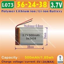 2pcs [L073] 3.7V,500mAH [562438] PLIB (polymer lithium ion / Li-ion battery ) for Smart watch,GPS,mp3,mp4,cell phone,speaker(China (Mainland))