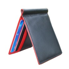 Korean new Luxury Leather Marvel Slimfold Wallet Business Money Clip stainless steal clamp for money cash Red Black mixed 6 Card(China (Mainland))