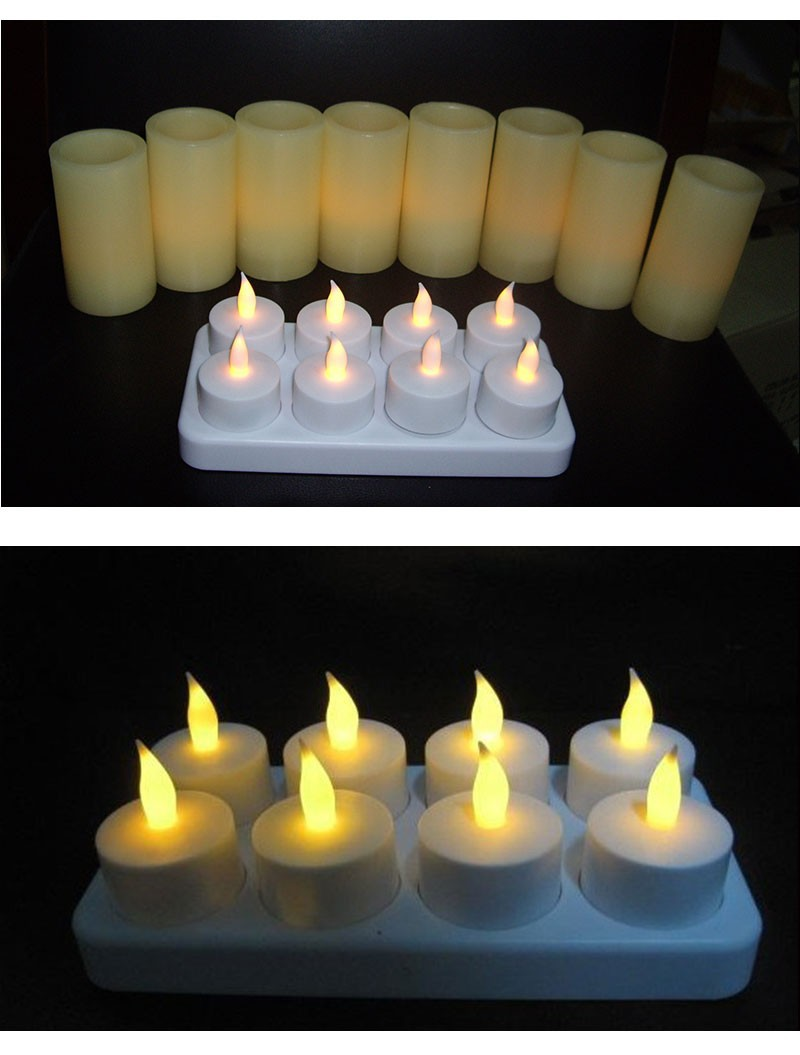 New Hot 8pcs/set Velas Led Candle Rechargeable,Electronic Candle, Happy Birthday Party Candle