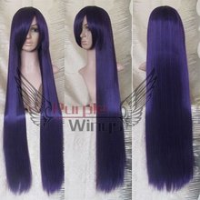 Heat Resistant Anime party Fashion long Purple Black Cosplay halloween Wig 100cm