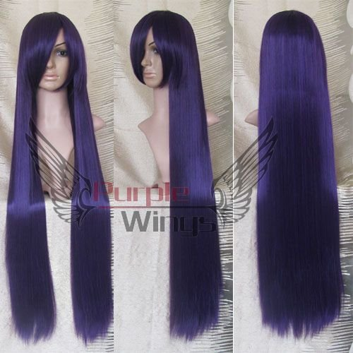 Heat Resistant Anime party Fashion long Purple Black Cosplay halloween font b Wig b font 100cm