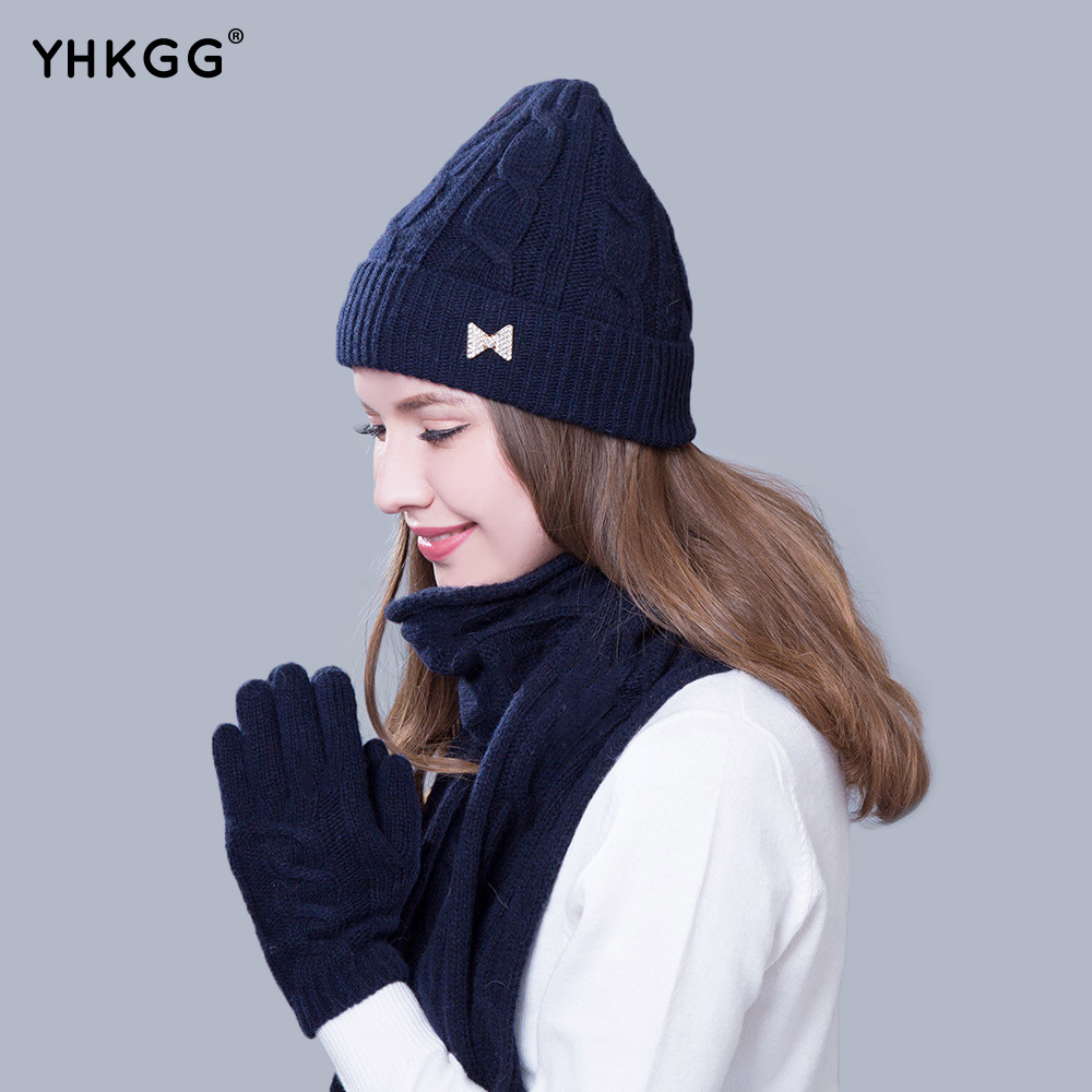2016 scarf and hat gloves set knitted thicken