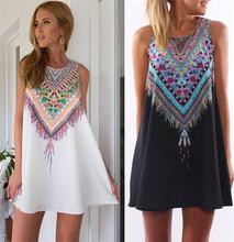 Vestidos 2016 Women Summer Dress Casual Boho Mini Beach Dress Floral Print Tunic Sleeveless Short Chiffon Dress Vestido de renda(China (Mainland))