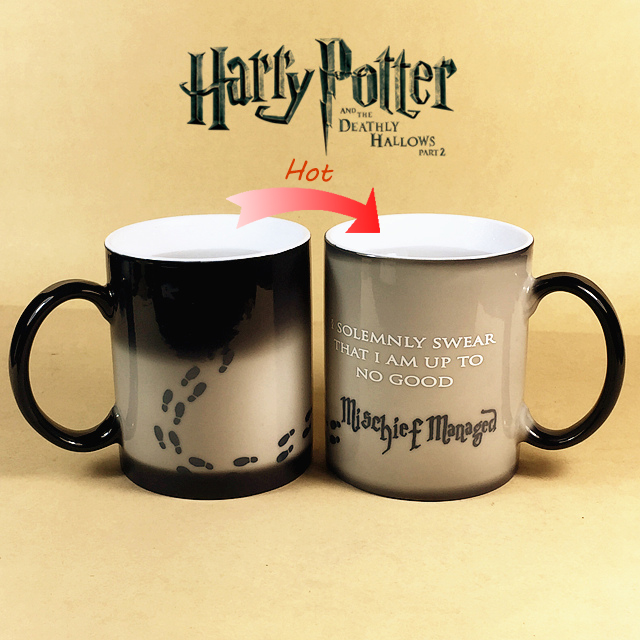 Harry Potter Mug Color Changing Cup Mischief Managed Magic Coffee Copo Sensitive Ceramic Tea La Copa(China (Mainland))