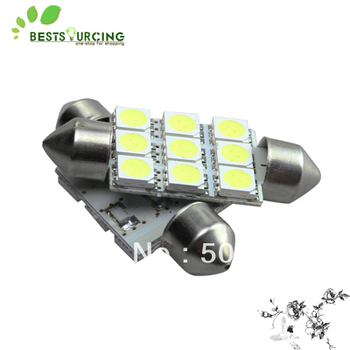 free shipping hot selling 10pcs 39mm 9 SMD 5050 LED Festoon Dome Car Lights Lamp Bulbs White 12V