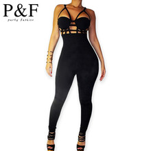 New style sexy Rompers Womens Jumpsuit Sexy Black Playsuit Club Bodysuits Elegant Sleeveless Bandage Jumpsuits(China (Mainland))