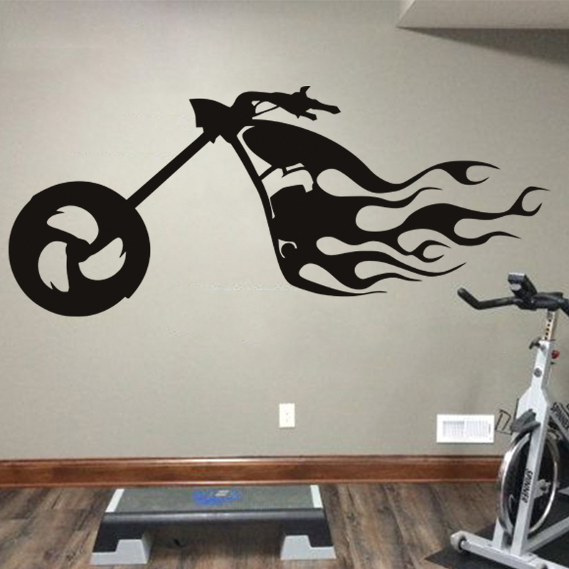 Art design cheap home decoration pvc fire motor bike wall for Art de decoration