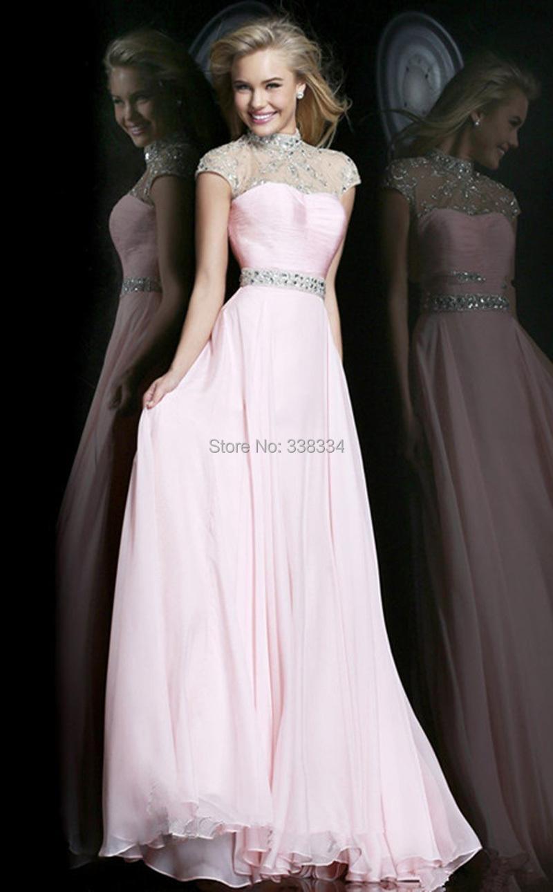 Vestidos de Festa Longo 2014 Discount Cheap A Line Pink Chiffon Beads High Collar Backless Formal Evening Gowns Dresses(China (Mainland))
