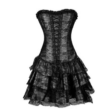 X Sexy Women Steampunk Lace Party Dress 4 Color