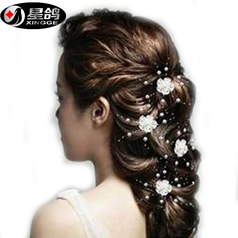 hot sale simulated pearl flower hairpins handmade wedding