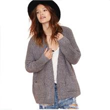 Boyfriend Style Cardigan Sweater European Autumn Long Sleeve Pocket  Knit Blouse Plus Size HDY15360M086 (China (Mainland))