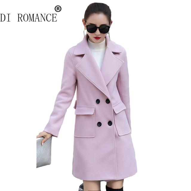 ДИ РОМАНТИКА зимнее пальто женщины Двойной Брестед Тренч Шерстяное Пальто длинные Зимние Куртки куртка пальто Верхняя Одежда для леди хорошим качеством