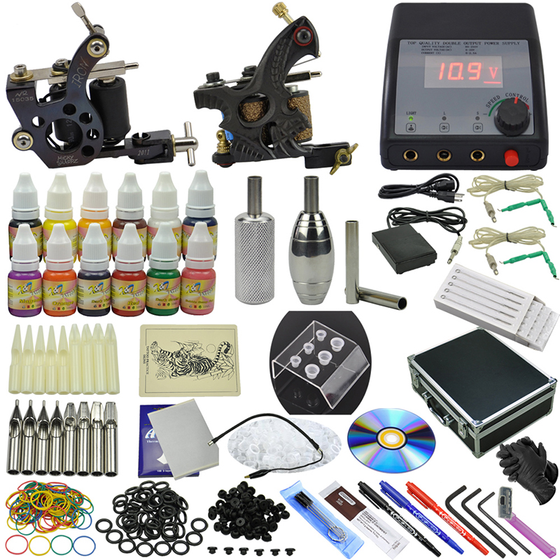 OPHIR 355pcs Complete 2 Tattoo Machine Gun Kit 12 Colour Ink Pigment Grip Needle Set #TA075
