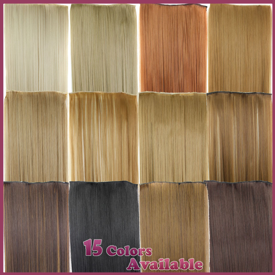 Гаджет  23inch 120g Straight Clip in False Hair Pad Synthetic Hair Styling 5 Clip in Hair Extension One Piece 613 Blonde Hair Piece None Волосы и аксессуары