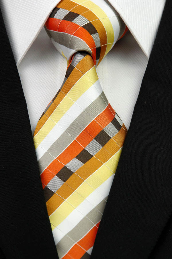 NT0249 Orange White Gray Multicolor Mans Classic Business Wedding Party Tie Fashion Jacquard Woven Silk Polyester