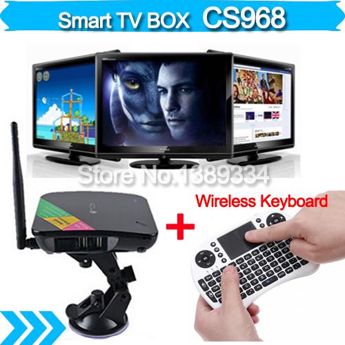 Телеприставка ECT CS968 XBMC 4.2quad 2 g + 8 g WiFi XBMC Google TV Box + i8 CS968 TV BOX приемник спутникового телевидения satellite tv receiver 1g 4g h 265 1080p xbmc amlogic s805 tv box dvb s2 2 1 tv set top box