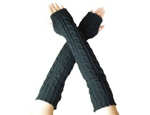 Yacun Women  Knitted Stretchy Long Sleeve Fingerless Gloves Arm Warmers for winter(China (Mainland))