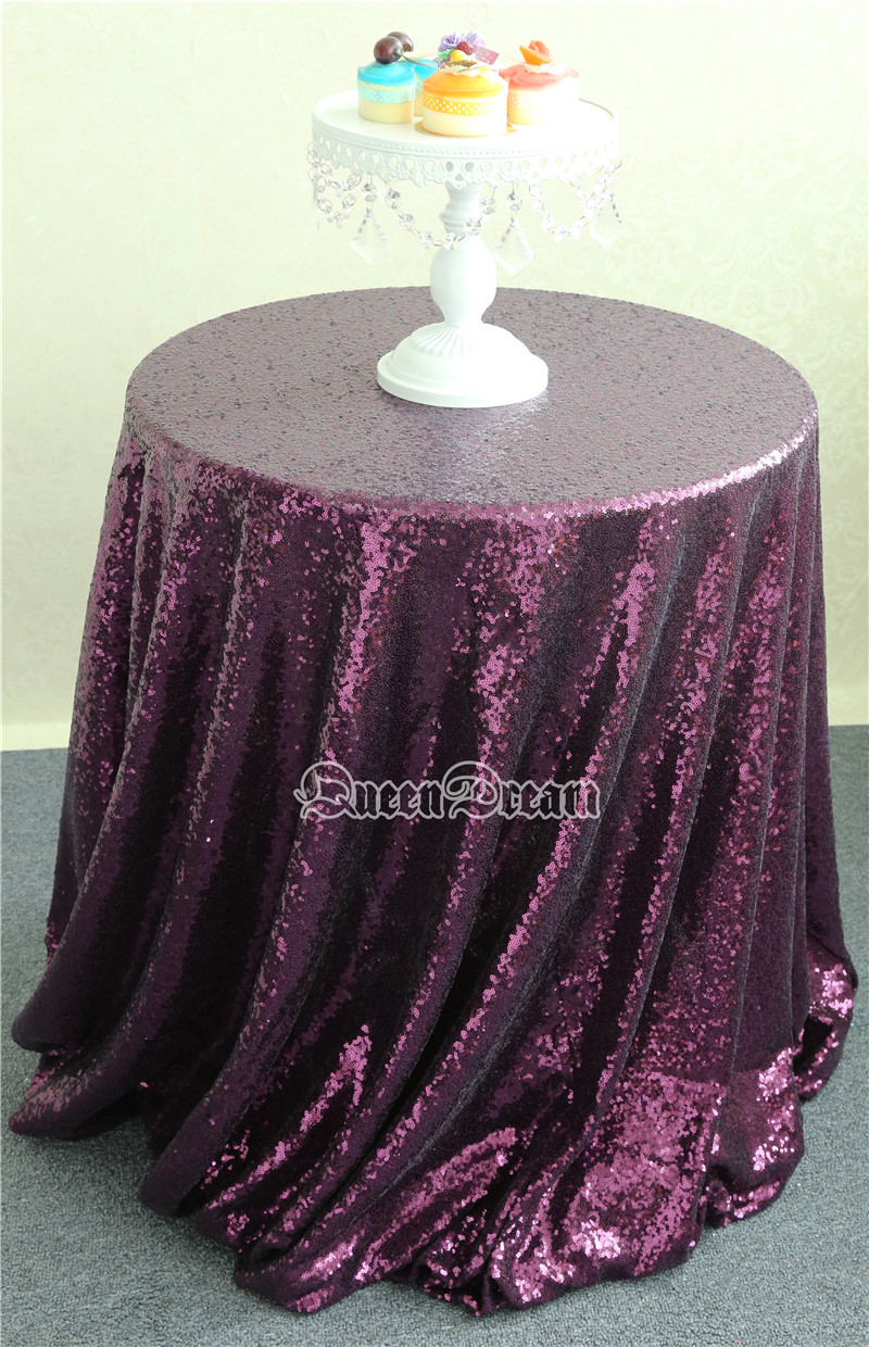 Good News!! 120'' Round Luxury Shiny PurpleTablecloth,Sequin Fabric Tablecloth Size & Color Are Available(China (Mainland))
