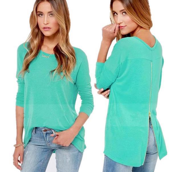 2015 Spring Summer New arrive European Fashion Casual Zip T-shirt All-match cotton XXL Long sleeve Loose women shirt(China (Mainland))