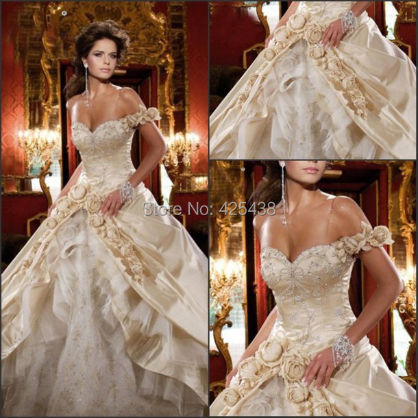 Vintage Wedding Dresses Gold : Popular gold ball gowns buy cheap lots from china