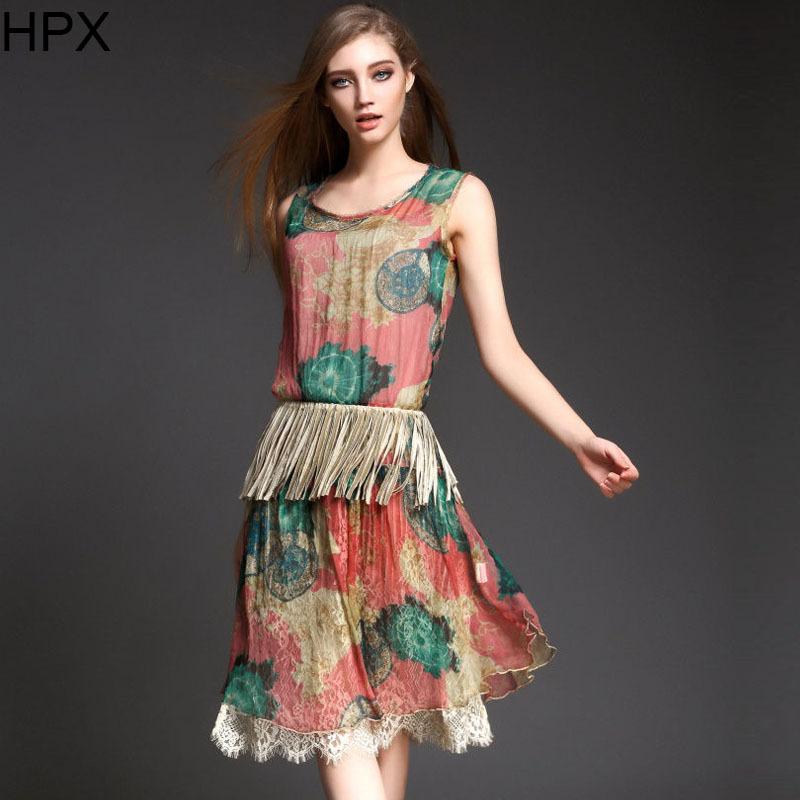 Women Real Silk Print Sleeveless O neck Ladies Knee Length Elegant Dress 2015 Spring Summer New European American Style Designer