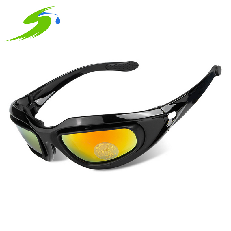 Cycling Eyewear Military Field Outdoor Riding Windproof Glasses Mirror Goggles 4 Lenses Set for Men Women Adult C5 Si067 <br><br>Aliexpress