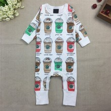 2015 New Fashion Baby Girls Boys Coffee Rompers Girls100%Cotton Clothing Newborn Jumpsuits(China (Mainland))