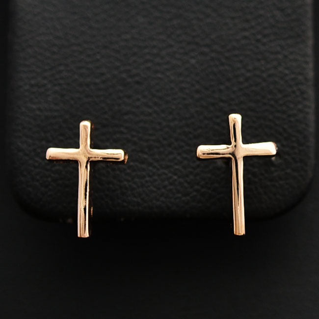 New Fashion jewellery rose gold plated cross stud for women girl wholesale E919(China (Mainland))