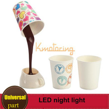 DIY Coffee Cup Night Light Novelty Romantic Battery USB Power LED Lamp Home Table Desk Bedroom Decoration Lampshade(China (Mainland))