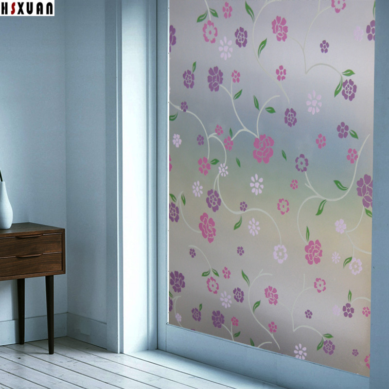 decorative Window insulation Film 92x100cm glass door flower patterns frosted pvc static window stickers Hsxuan brand 920310(China (Mainland))