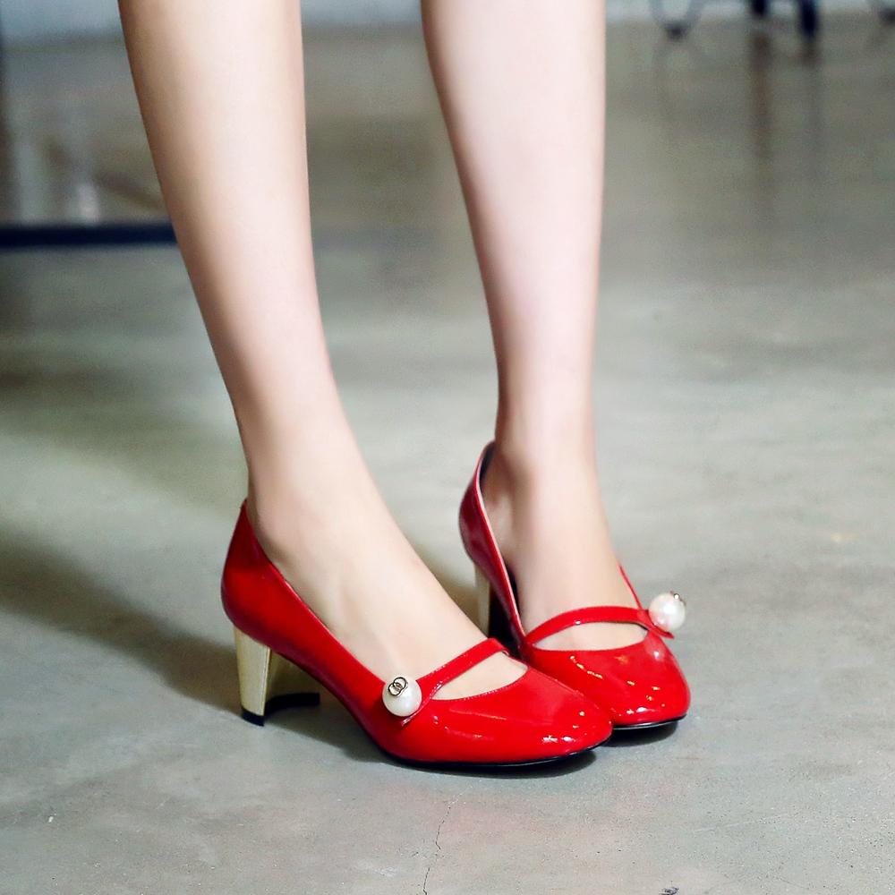 Women's Genuine Leather MedHeel Buckle Mary Janes Elegant Evening Pumps High Heels Bride Dress OL Style Fashion Designer Shoes(China (Mainland))