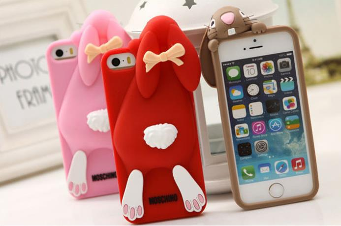 4.7 inch 3D Cartoon Bunny Back Cover Case For iphone 6 Rabbit Silicon Gel For iPhone Lovely Rabbit Design(China (Mainland))