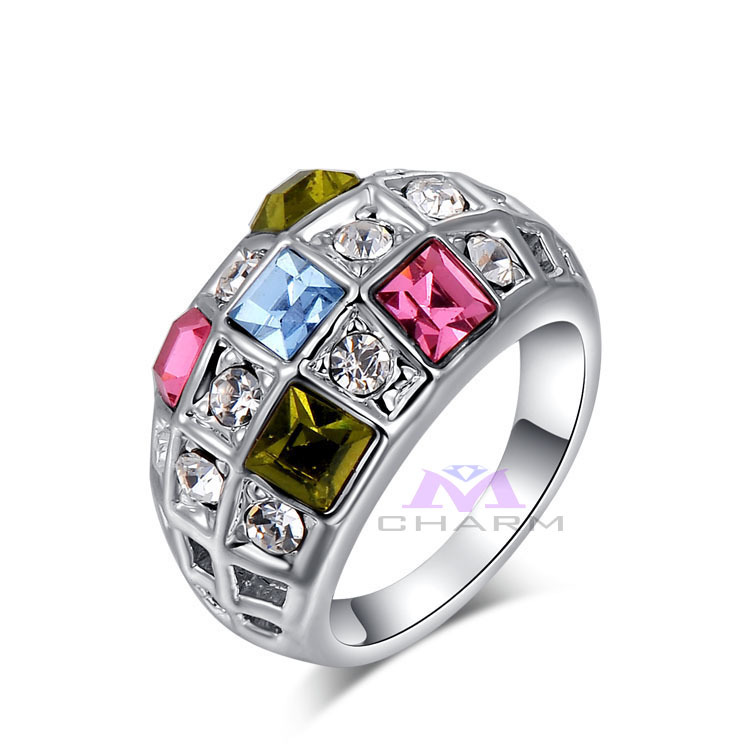 Exquisite fashion jewelry,nickle free AAA zircon Classic Genuine Austrian Rhinestone colorful finger rings,Jewelry rings(China (Mainland))