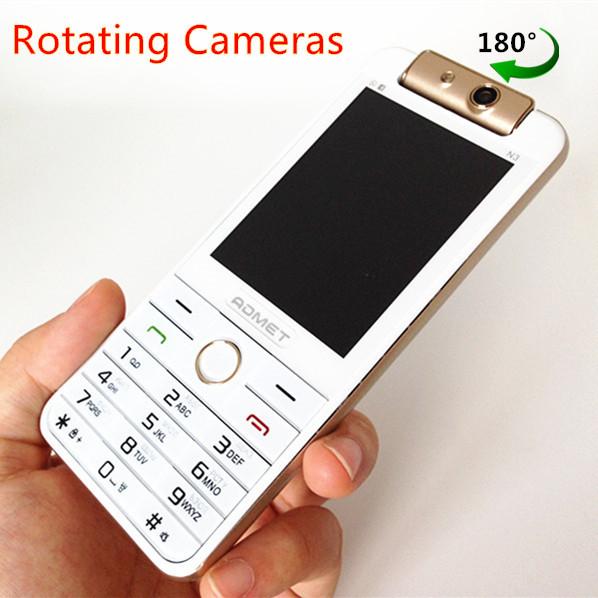 Fashion Cell Phone Rotating Cameras Original ADMET N3 Luxury Bar Mobile Phone Dual SIM Dual Standby Vibration Russian Keyboard
