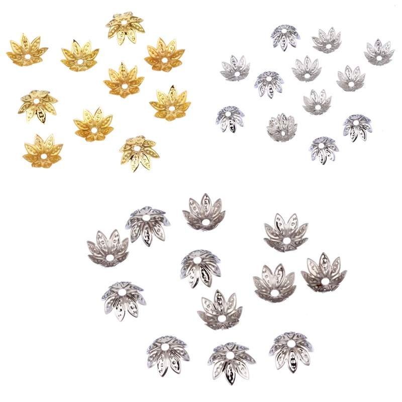 Hot 11*11mm 100pcs/lot High Quality DIY Gold/Silver Plated Flower Charms Bead Caps for Jewelry Making