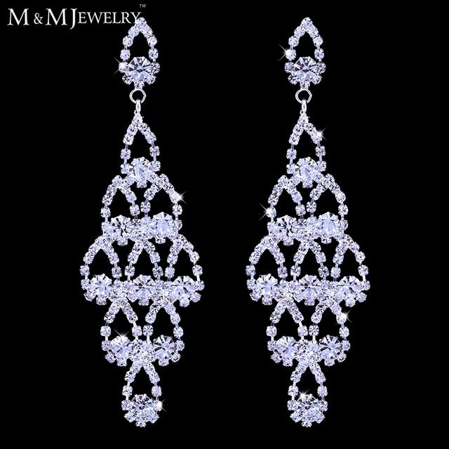 Оптовая продажа посеребренная кристалл люкс свадебные ювелирные изделия люстра длинные серьги для женщин EH428
