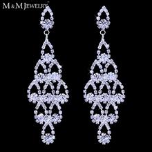 Argento all'ingrosso ha placcato cristallo monili di nozze sposa lampadario orecchini di goccia lunghi per le donne eh428(China (Mainland))