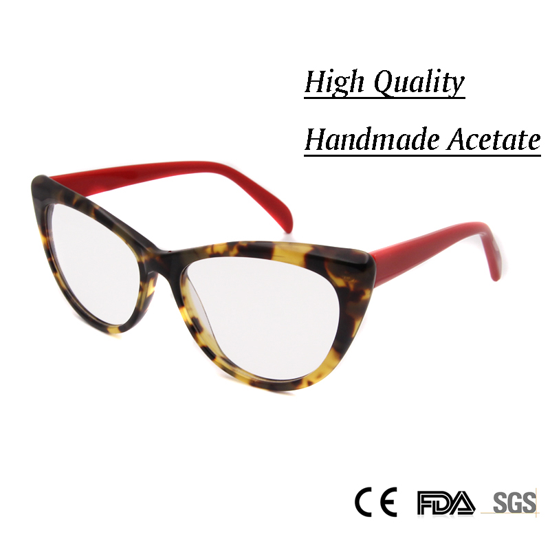 new womens fashion cat eye eyeglasses frames decorative eyewear handmade acetate spectacle frame clear lens glasses