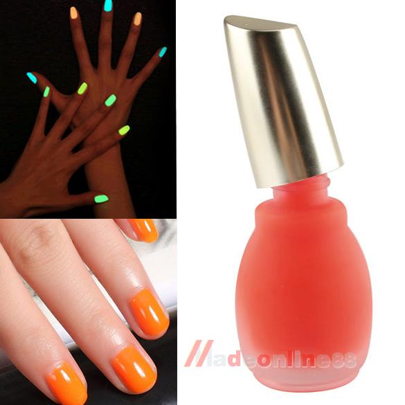 New Fashion Fluorescent Neon Nail Polish Glow in Dark Lacquer Varnish 15ml Fresh Orange M3AO(China (Mainland))