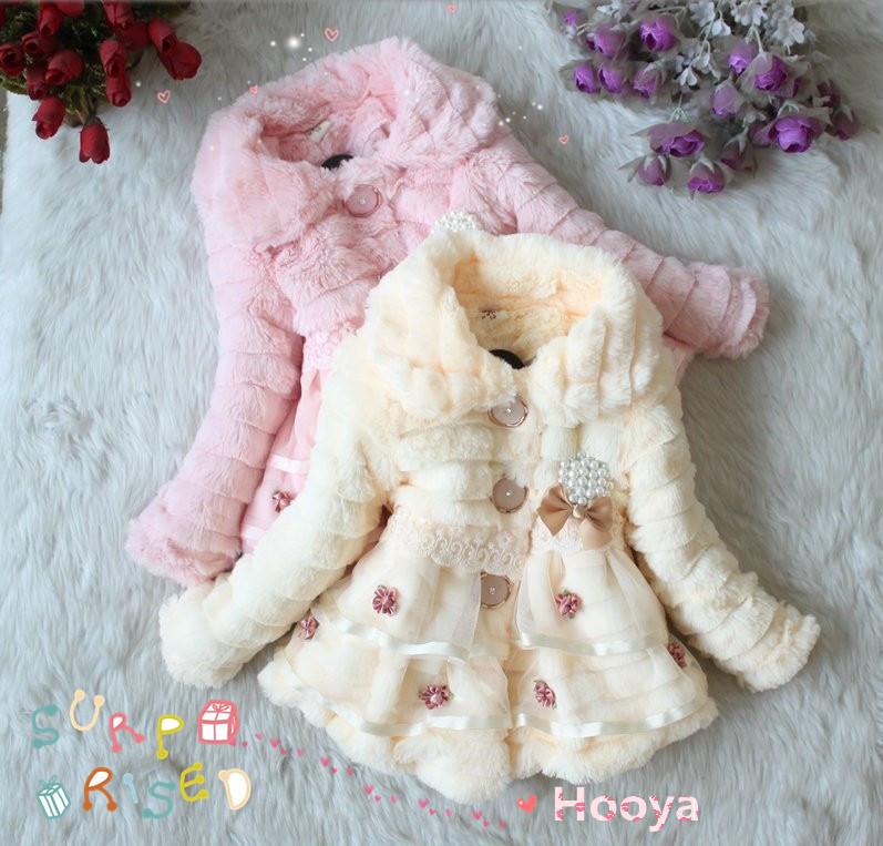 2015 Autumn Winter Girls faux Fur coat Children Outerwear dress style Jacket warm outerwear child Fleece thickening Clothing(China (Mainland))
